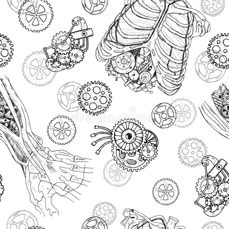 Bezszwowy wzór z rękami, klatką piersiową, ziobro i częściami starzy mechanizmy demonu, ilustracja wektor