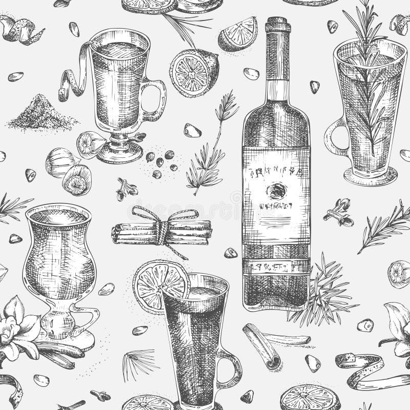 Bezszwowy wzór z ręki rysować Bożenarodzeniowymi zim pikantność, szkłami tradycjonalnie gorący zima napoje i wino butelką, ilustracja wektor