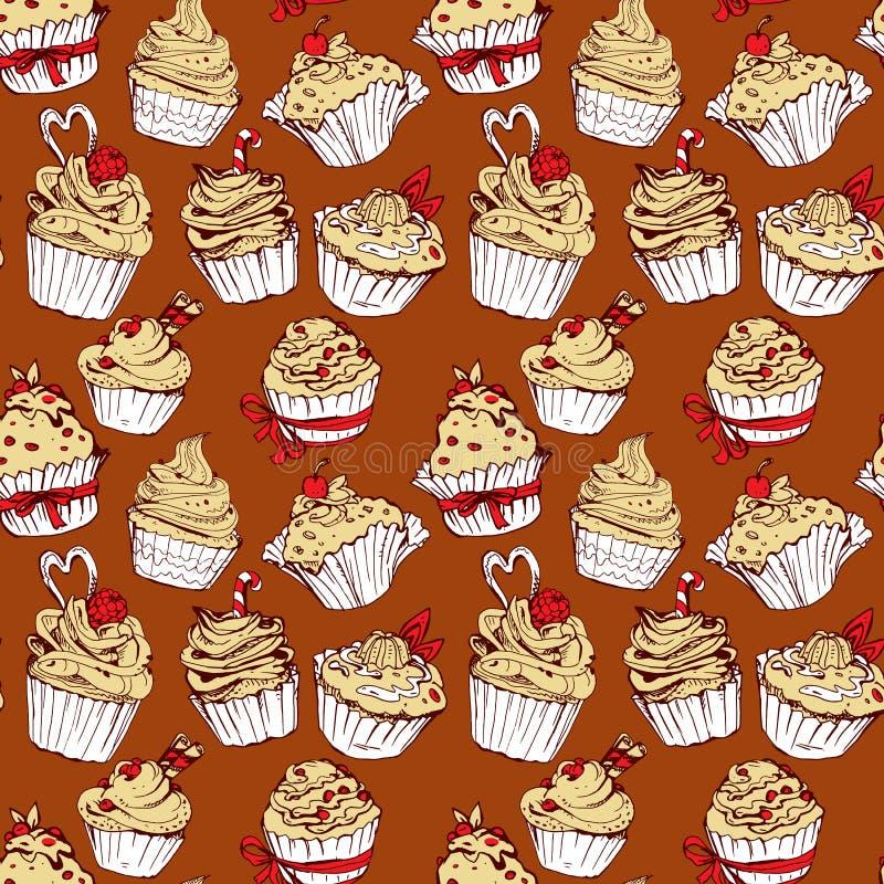 Bezszwowy wzór z ręki rysować dekorować słodkimi babeczkami - tylnymi ilustracji