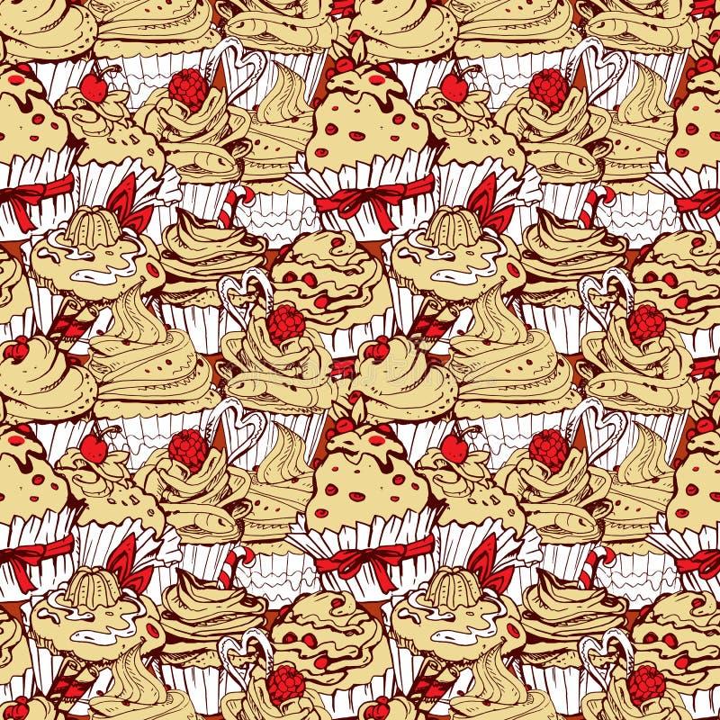 Bezszwowy wzór z ręki rysować dekorować słodkimi babeczkami - tylnymi royalty ilustracja