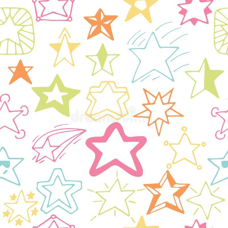 Bezszwowy wzór z ręki rysować gwiazdami Szkicowi gwiazdowi bezszwowi półdupki ilustracja wektor