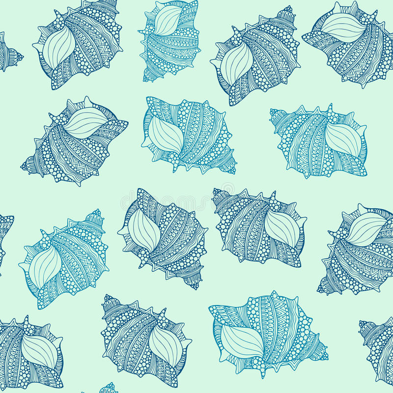 Bezszwowy wzór z ręki rysującymi seashells dekorował z abstrakcjonistycznymi ornamentacyjnymi doodles ilustracji