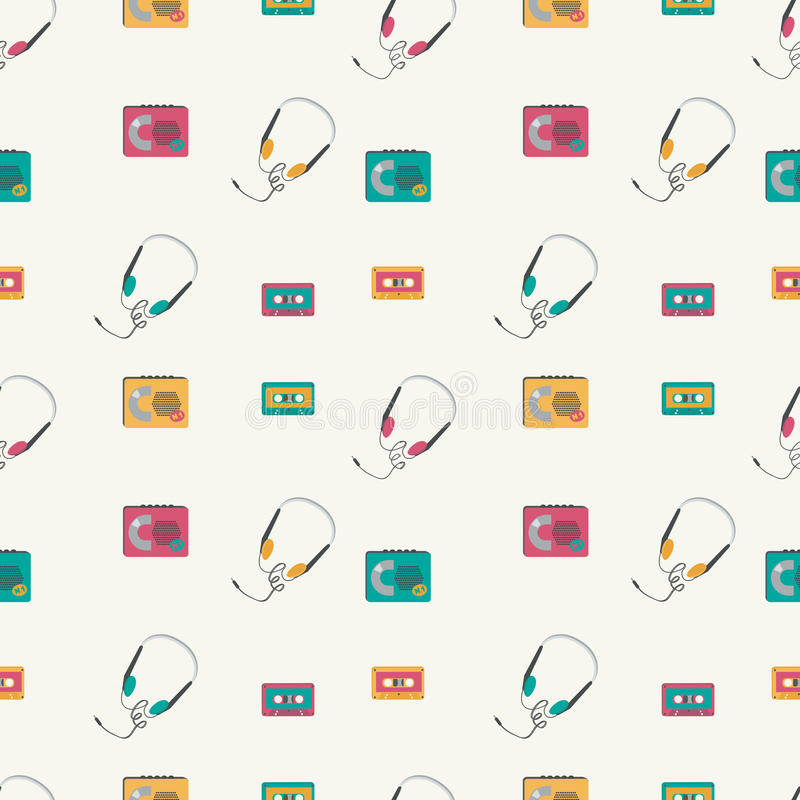 Bezszwowy wzór z retro audio graczami, taśmy, hełmofony ilustracja wektor