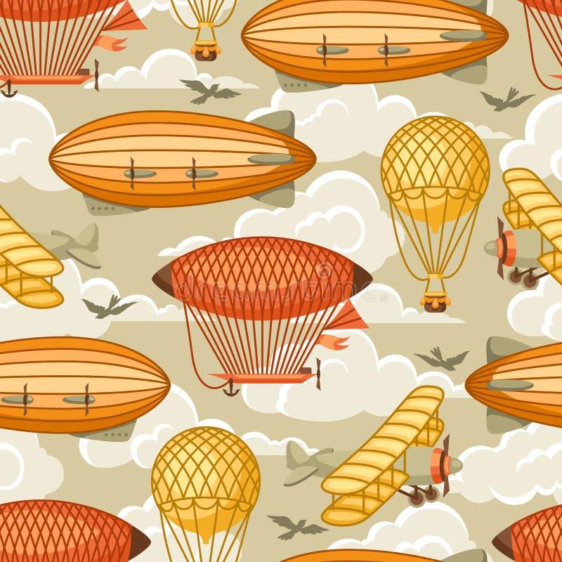 Bezszwowy wzór z retro transportem powietrznym Rocznika aerostata sterowiec, hura-patriota i równina w chmurnym niebie, ilustracja wektor