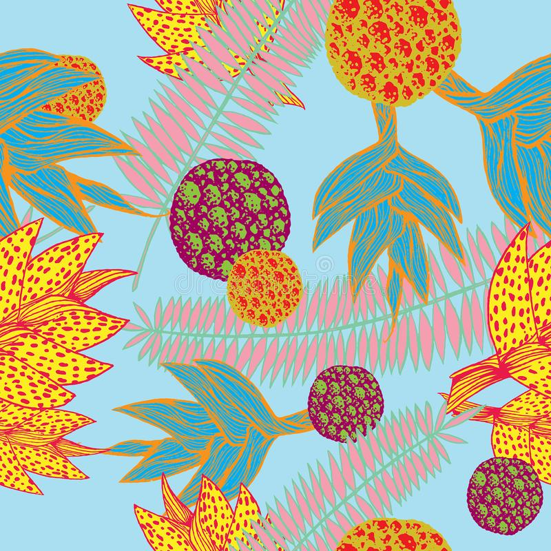 Bezszwowy wzór z roślinami inspirować tropikalną botaniką w żywych kolorach royalty ilustracja