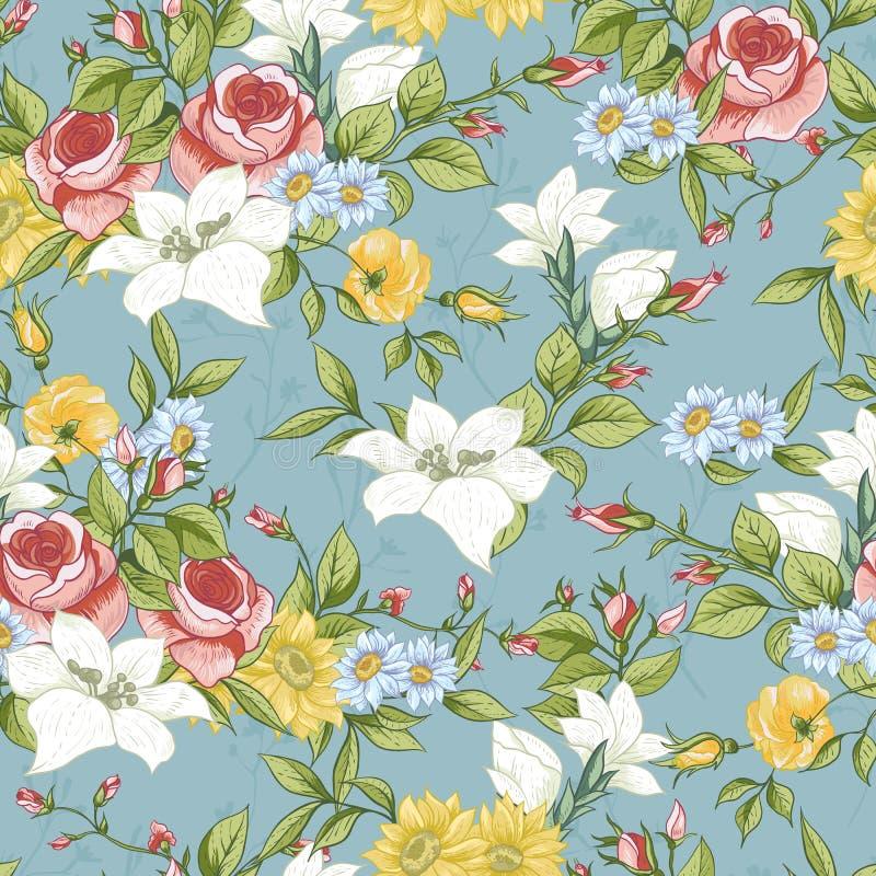 Bezszwowy wzór z roczników Wildflowers royalty ilustracja