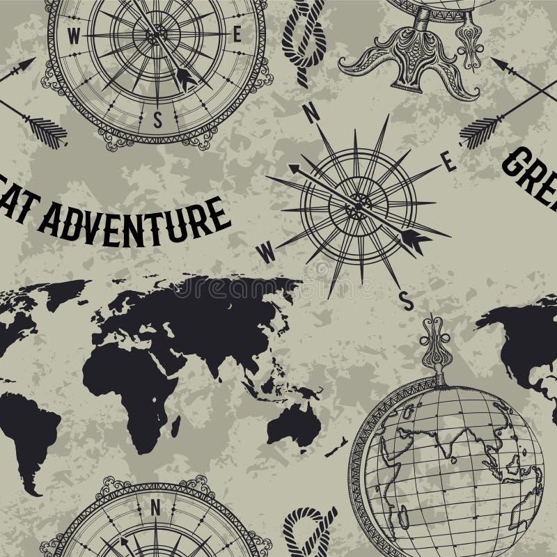 Bezszwowy wzór z rocznik kulą ziemską, kompasem, światową mapą i wiatrem, wzrastał ilustracji