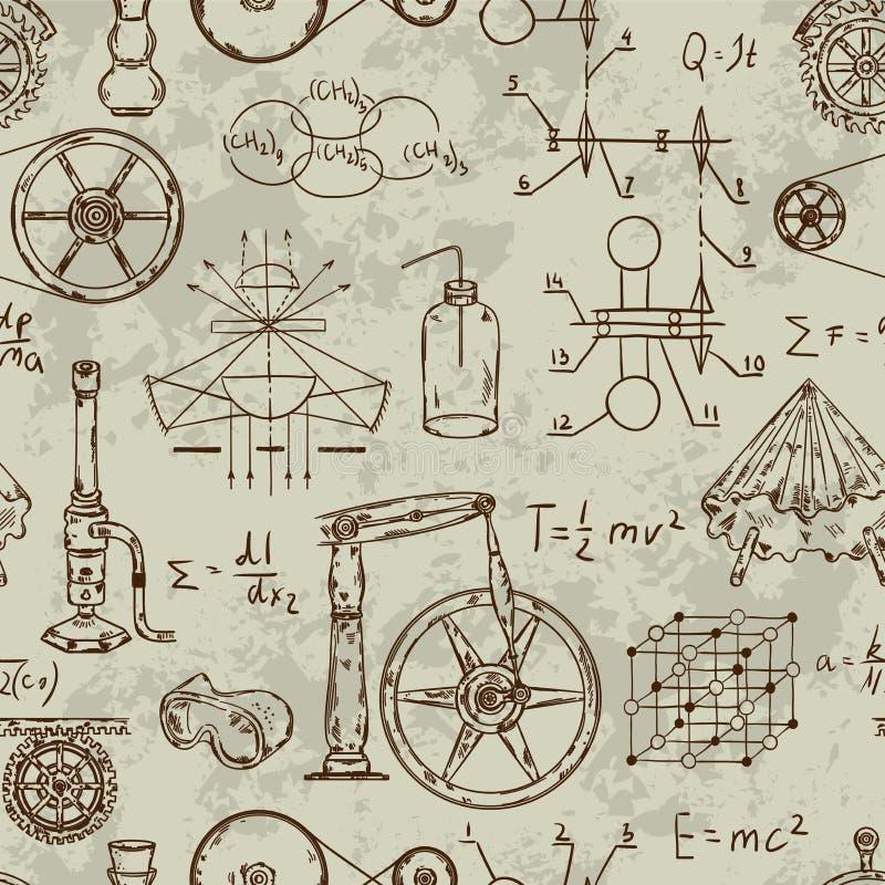 Bezszwowy wzór z rocznik nauki przedmiotami Naukowy wyposażenie dla physics i chemii royalty ilustracja