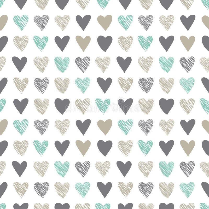 Bezszwowy wzór z rocznik siekierki sercami ilustracji