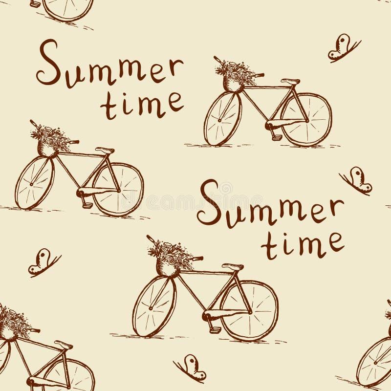 Bezszwowy wzór z rocznika bicyklem royalty ilustracja