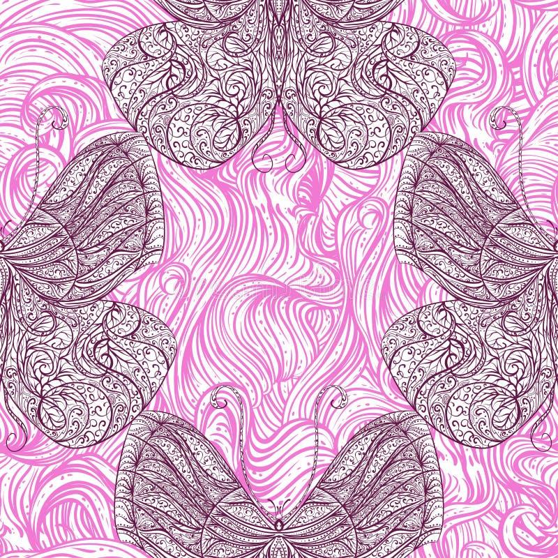 Bezszwowy wzór z rocznika motylem z kwiecistym abstrakcjonistycznym ornamentem i falistym włosy ilustracji