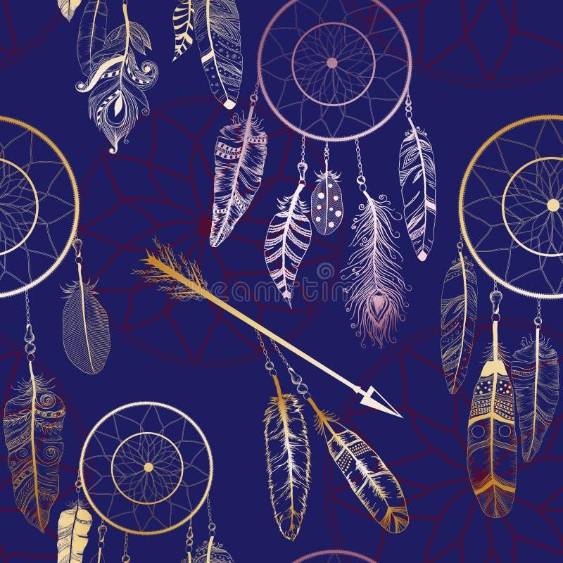 Bezszwowy wzór z rodowitego amerykanina hindusa sen łapaczem ilustracja wektor
