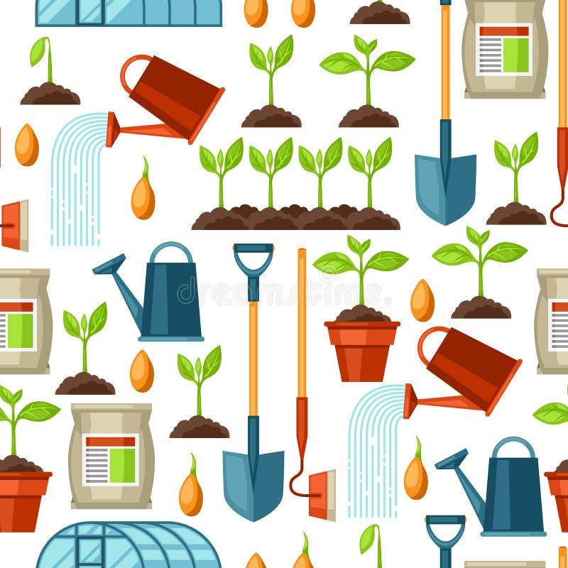 Bezszwowy wzór z rolnictwo przedmiotami Instrumenty dla kultywaci, rośliny rozsady proces, sceny rośliny przyrost