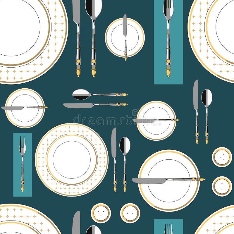 Bezszwowy wzór z słuzyć stołem 1 ilustracja wektor