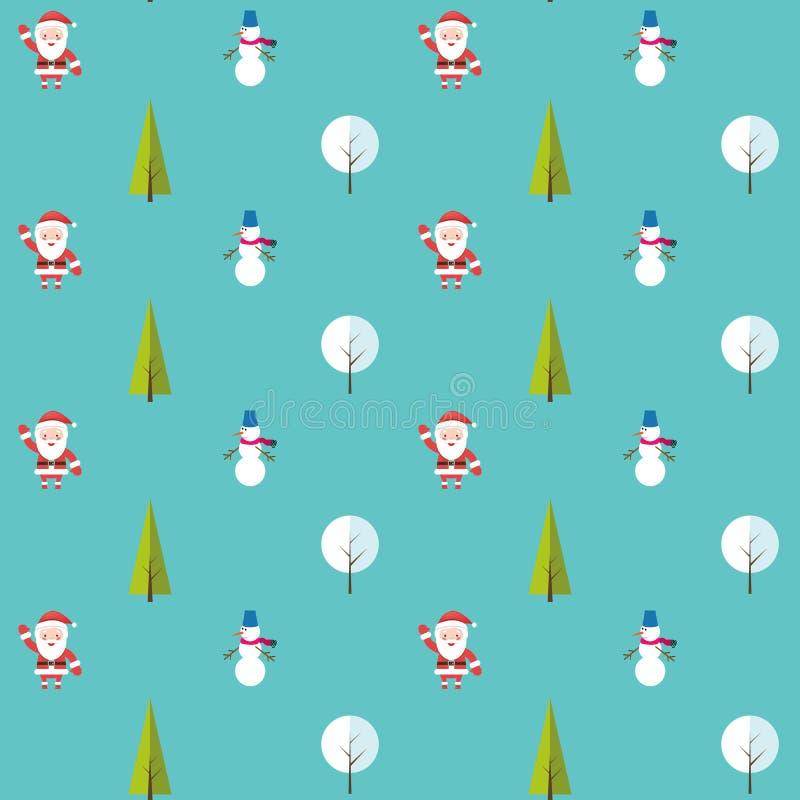 Bezszwowy wzór z Santa Claus, choinka, bałwan i drzewo pod śniegiem, Tło dla zaproszenia, plakat ilustracja wektor