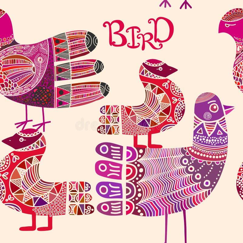 Bezszwowy wzór z scandinavian ozdobnym boho stylu ptakiem ilustracja wektor