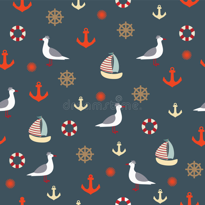 Bezszwowy wzór z seagulls ilustracji