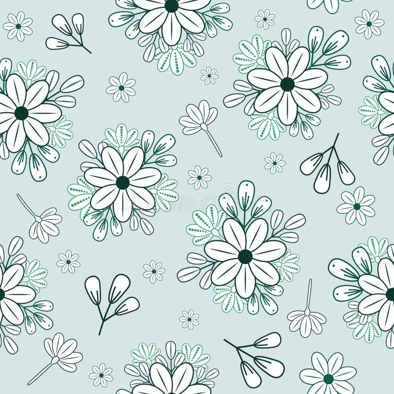 Bezszwowy wzór z seledynu doodle kwitnie i rozgałęzia się na błękitnym tle ilustracji