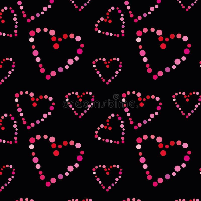 Bezszwowy wzór z sercami na czarnym tle zdjęcia royalty free