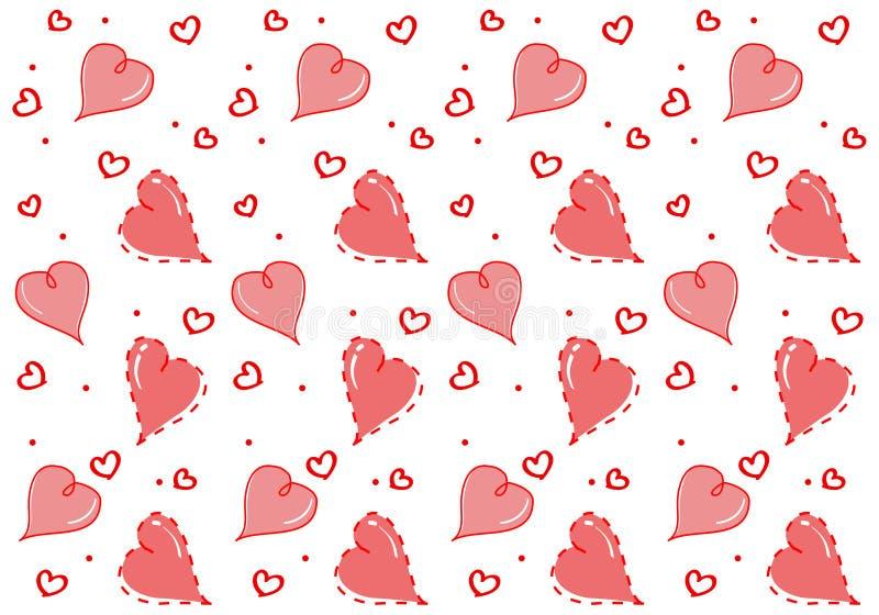 Bezszwowy wzór z serce kochankiem Odizolowywa na białym tle ilustracji