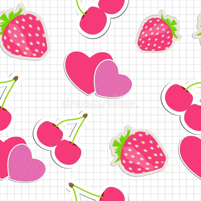 Bezszwowy wzór z sercem, wiśnia, truskawka. ilustracji