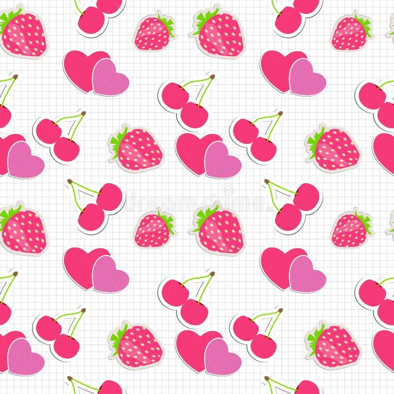 Bezszwowy wzór z sercem, wiśnia, truskawka. royalty ilustracja