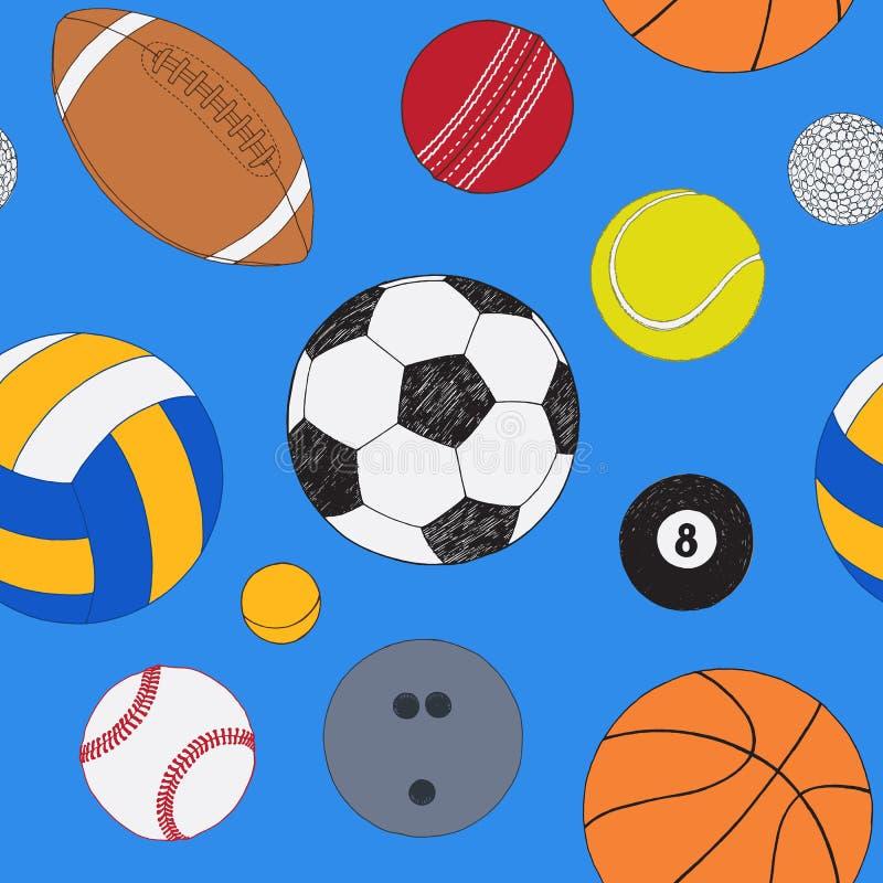Bezszwowy wzór z setem sport piłki Ręka rysujący barwiący wektorowy nakreślenie niebieska tła Wzór zawierać royalty ilustracja