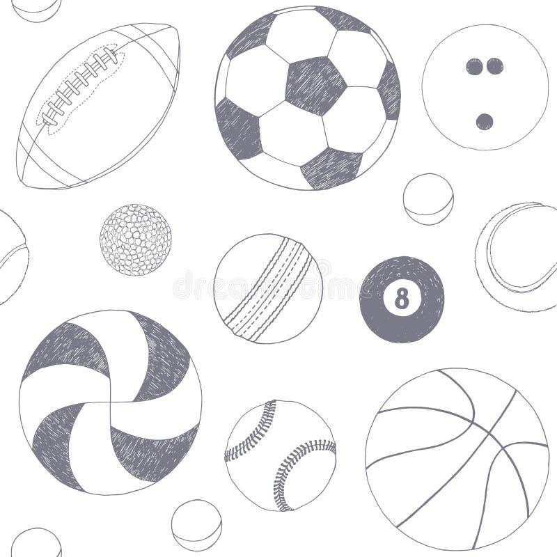 Bezszwowy wzór z setem sport piłki Ręka rysujący wektorowy nakreślenie Szarość sporta rzeczy na białym tle wzór ilustracja wektor