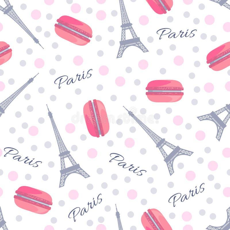 Bezszwowy wzór z smakowitymi macaroons, wieżą eifla, Paryż i kropkami, ilustracja wektor