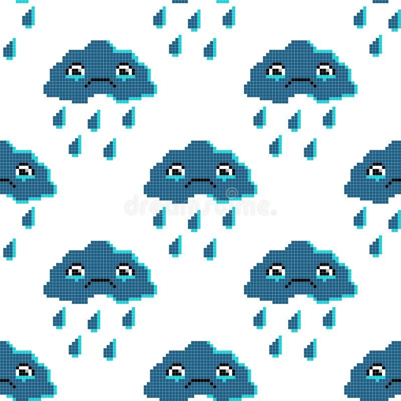 Bezszwowy wzór z smutną chmurą Piksel sztuki tło, kreskówka wektoru ilustracja royalty ilustracja