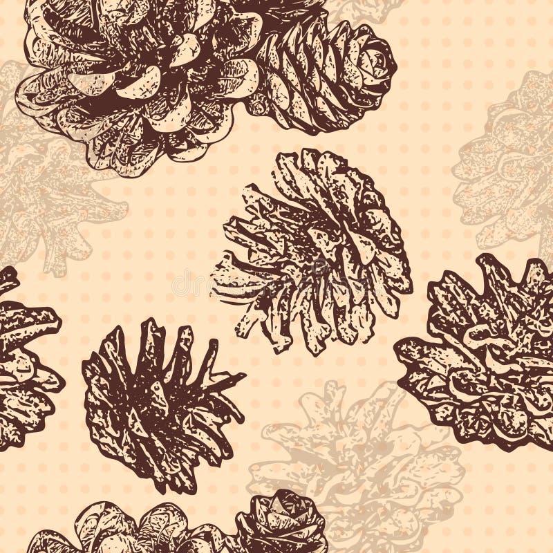 Bezszwowy wzór z sosen gałąź i rożkami Projektuje dla Bożenarodzeniowych kartek z pozdrowieniami i pakować, szablonów zaproszenia ilustracja wektor