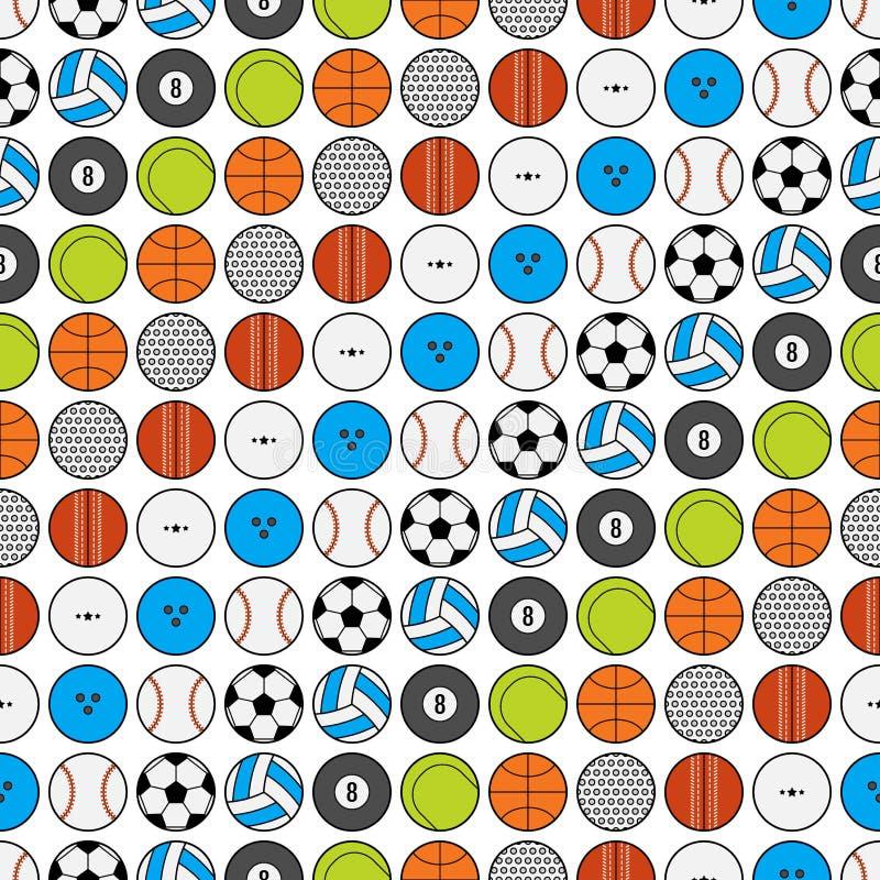 Bezszwowy wzór z sport piłek wektoru ilustracją ilustracji