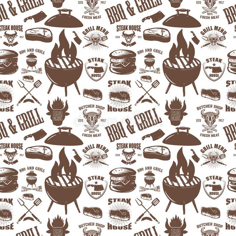 Bezszwowy wzór z steakhouse symbolami Grill, bbq, świeży mięso Projektuje element dla plakata, menu, ulotka, sztandar, menu, paku ilustracji