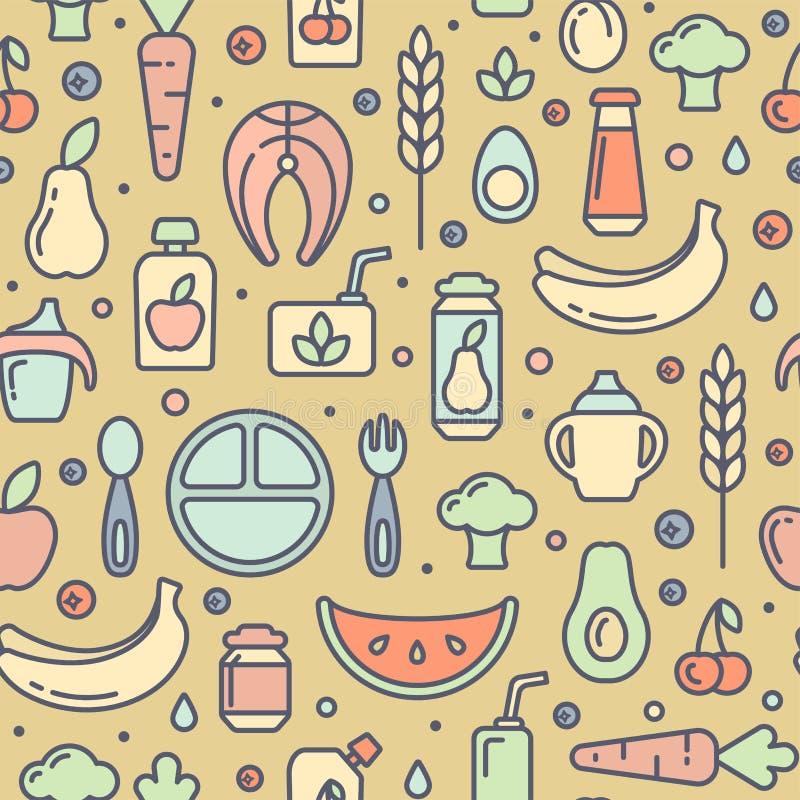 Bezszwowy wzór z stubarwnymi dziecka jedzenia elementami ilustracji