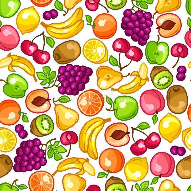 Bezszwowy wzór z stylizowanymi świeżymi dojrzałymi owoc royalty ilustracja