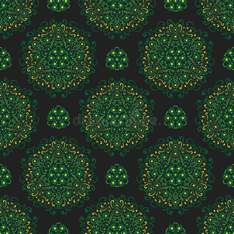 Bezszwowy wzór z stylizowanymi kwiatami i kwiecistymi elementami na zmroku - szary tło royalty ilustracja