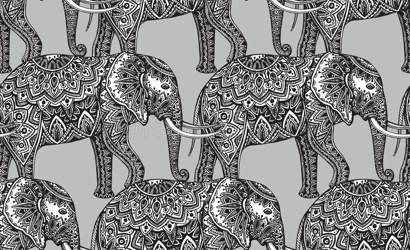 Bezszwowy wzór z stylizowanymi ornamentacyjnymi słoniami w indianina st royalty ilustracja