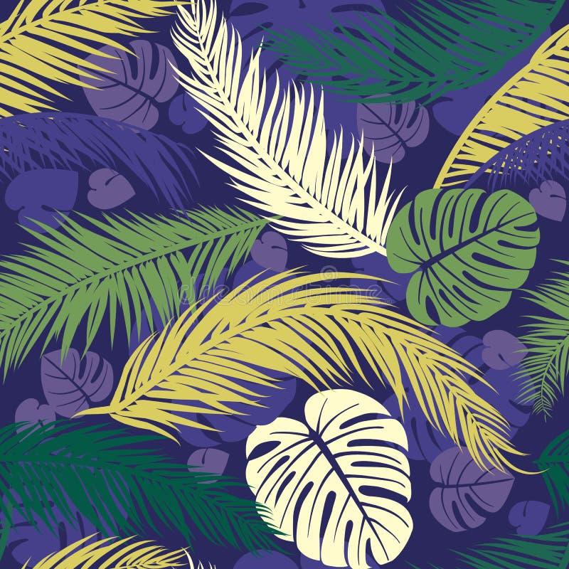 Bezszwowy wzór z sylwetkami drzewko palmowe liście bezszwowy kwiecisty tła royalty ilustracja