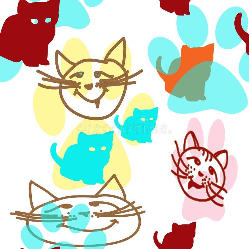 Bezszwowy wzór z sylwetkami figlarki, z konturem kocie twarze i kotów odciski stopi ilustracja wektor