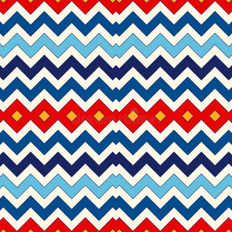 Bezszwowy wzór z symmetric geometrycznym ornamentem Szewronów kolorów horyzontalnych linii abstrakta zygzakowaty jaskrawy tło ilustracji