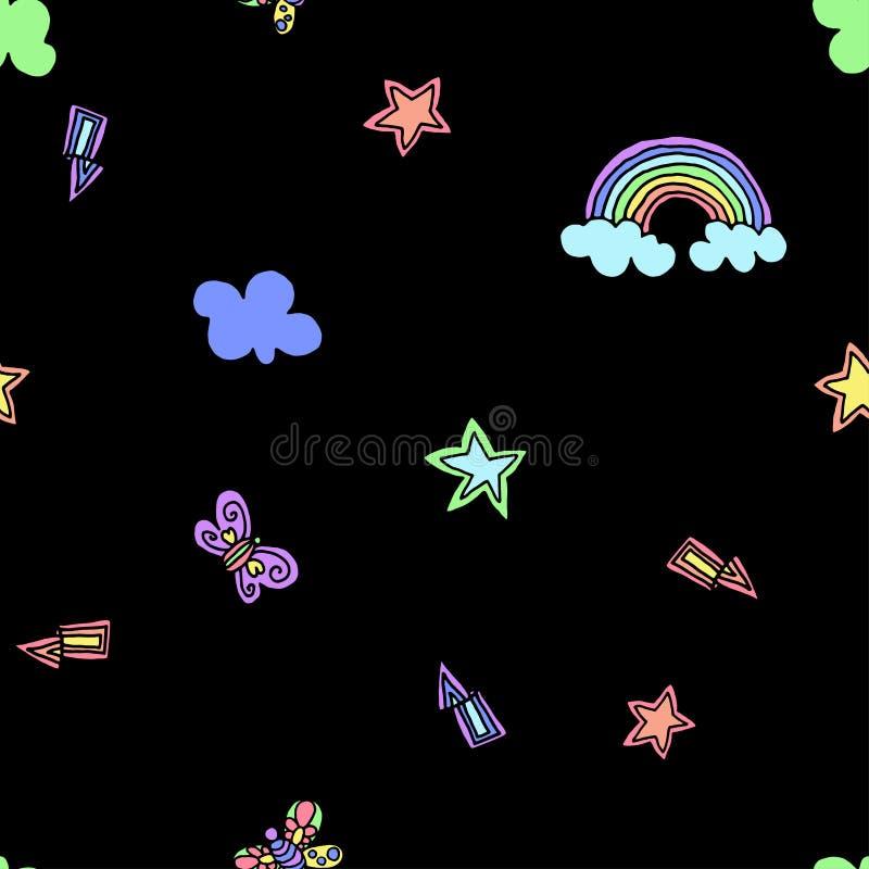 Bezszwowy wzór z tęczą, gwiazdami, błyskiem, błyskawicą i motylem na czarnym tle, również zwrócić corel ilustracji wektora Typogr ilustracji
