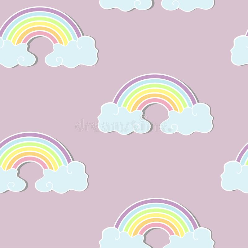 Bezszwowy wzór z tęczą i chmurami royalty ilustracja