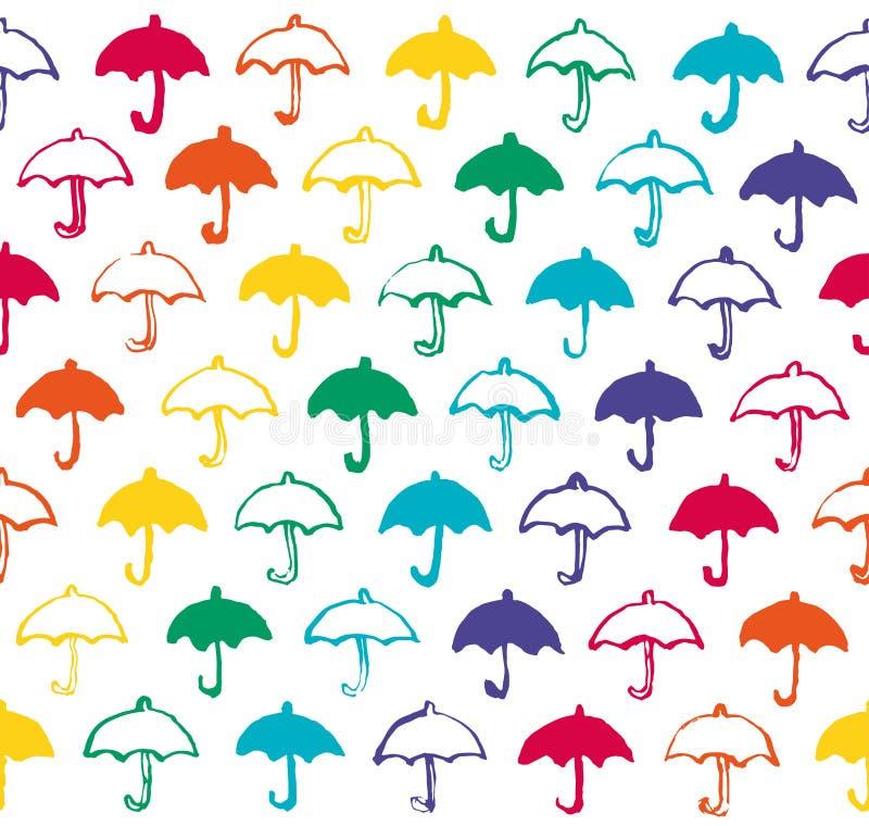 Bezszwowy wzór z tęcza barwionymi parasolami. ilustracji