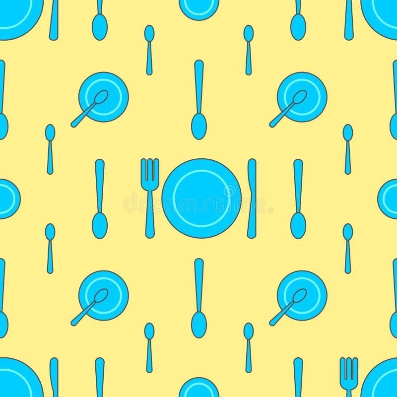Bezszwowy wzór z talerzem, rozwidleniem, nożem i łyżką w różnych różnicach na żółtym tle zieleni, ilustracji