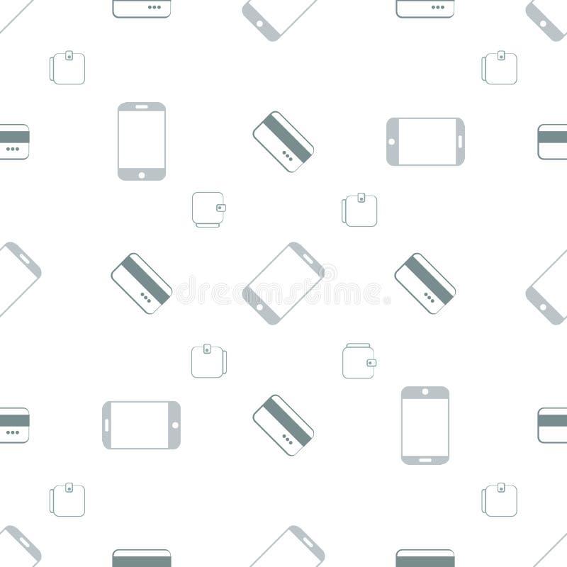 Bezszwowy wzór z telefonami i kartami obraz stock