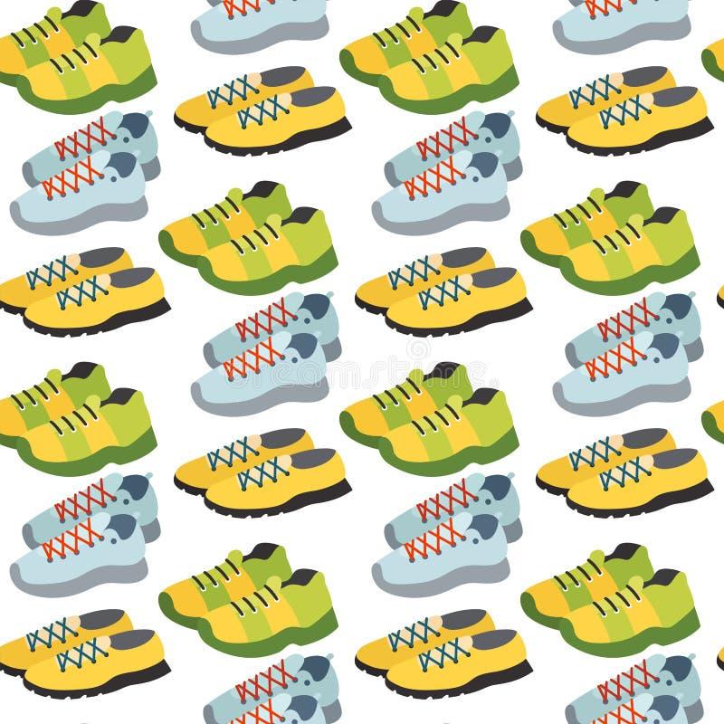 Bezszwowy wzór z tenisówka buta koloru tła wektoru płaską ubraniową ilustracją royalty ilustracja