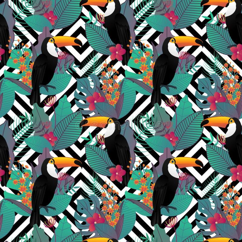 Bezszwowy wzór z Toco pieprzojada ptakiem i tropikalnymi liśćmi ilustracja wektor