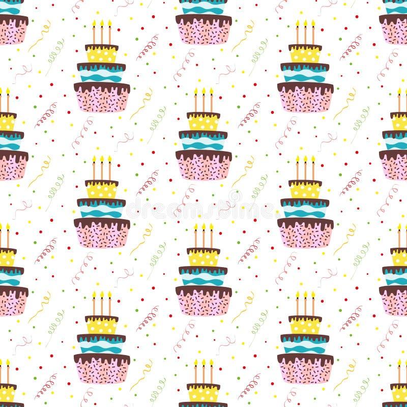 Bezszwowy wzór z tortami i confetti na białym tle ilustracji