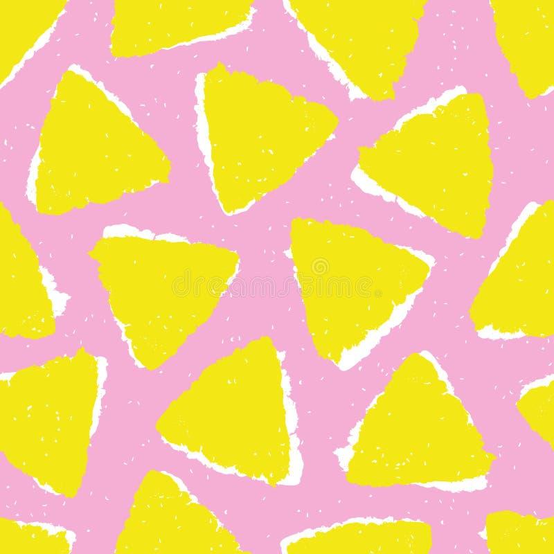 Bezszwowy wzór z trójboka muśnięciem malował na różowym tle royalty ilustracja