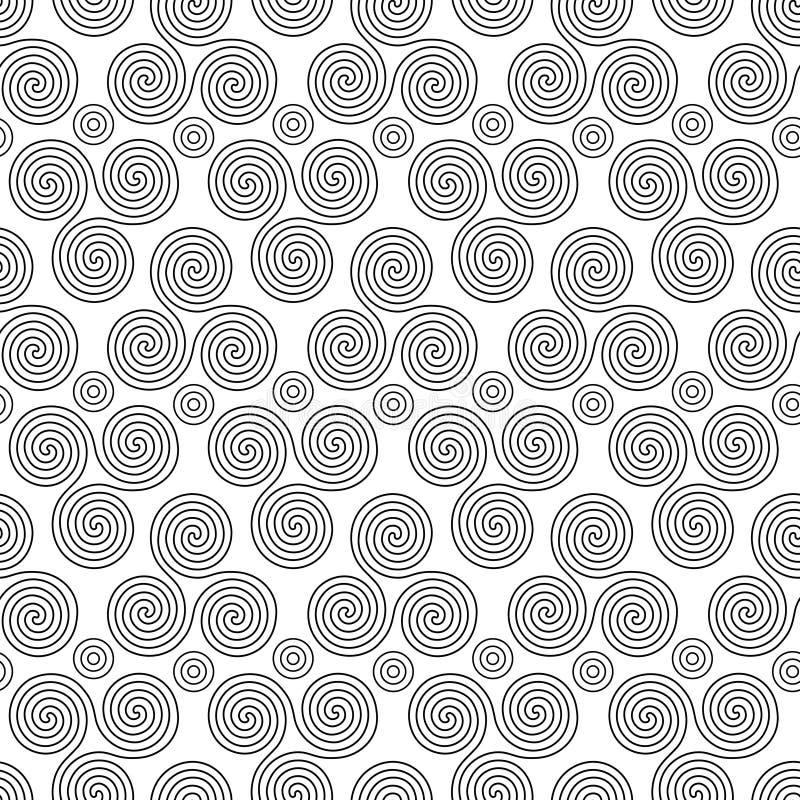 Bezszwowy wzór z trójki spiralą kształtuje i okręgi royalty ilustracja